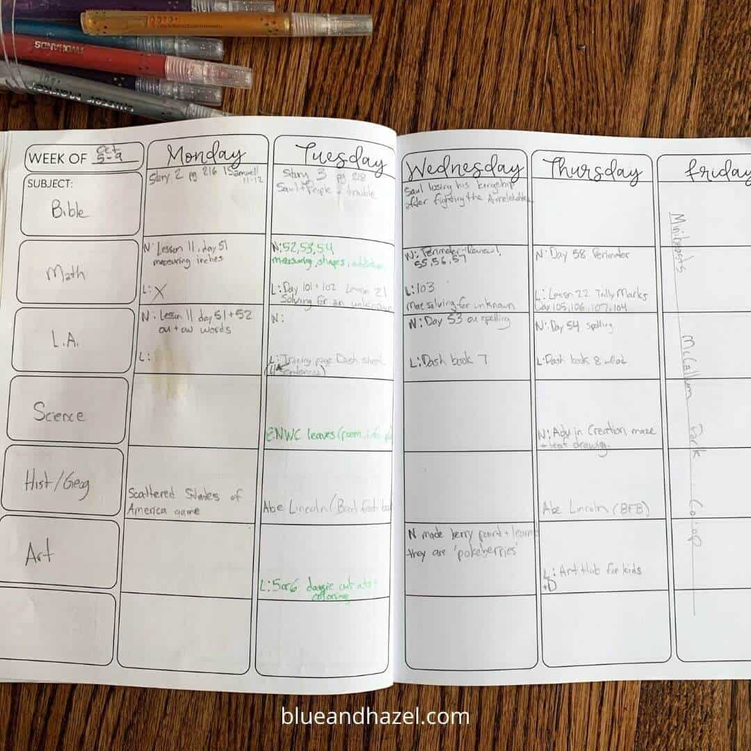 Inside one week of a homeschool planner showing reverse planning.