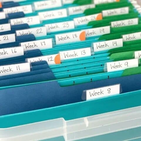 homeschool crate system that holds one year's worth of curriculum organized by week