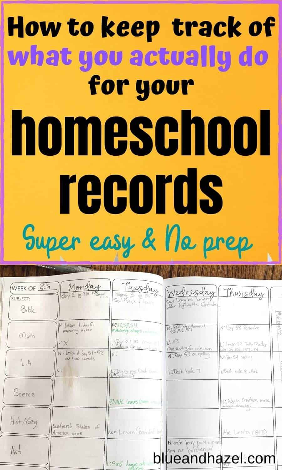 homeschool record keeping using reverse planning