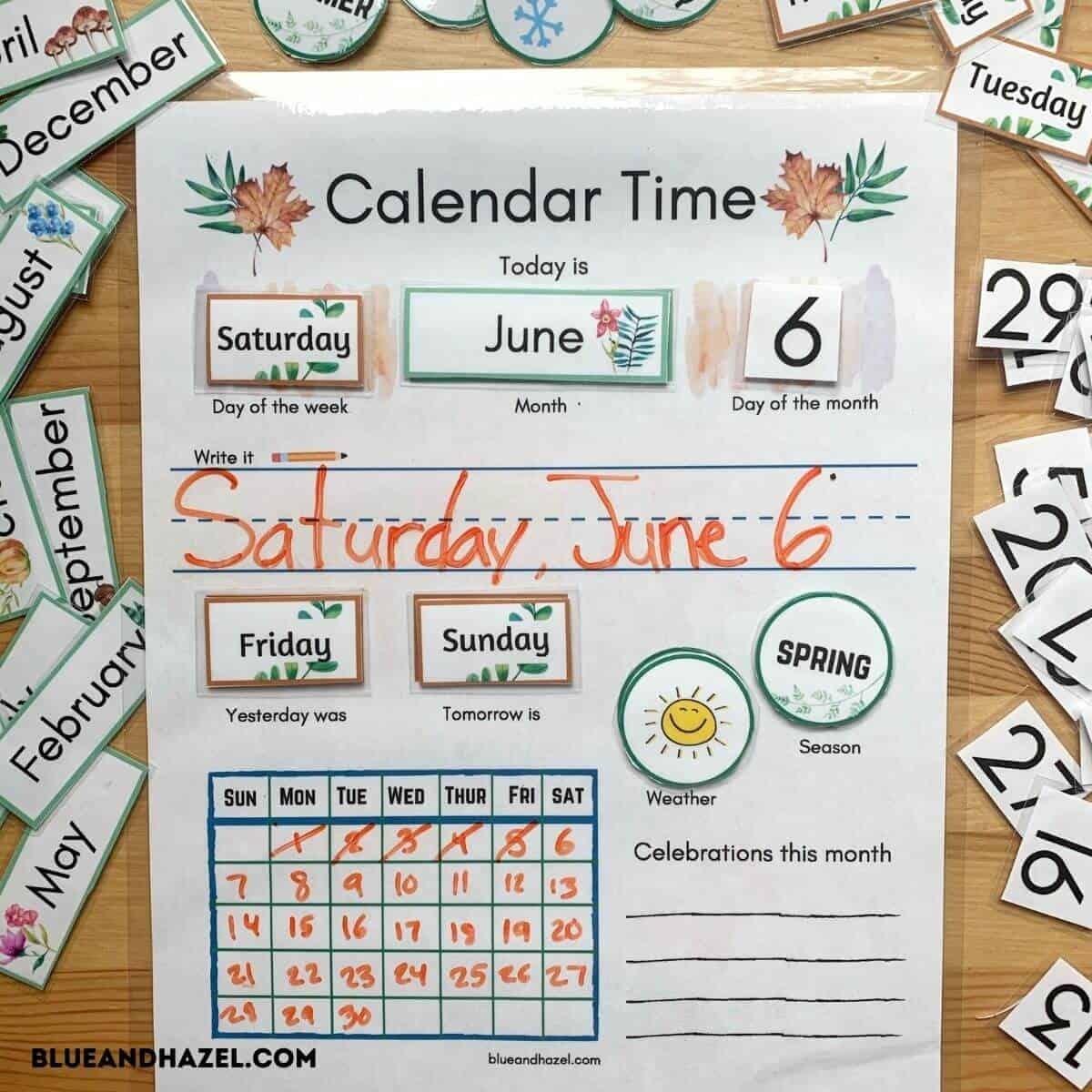 Calendar Time Printable