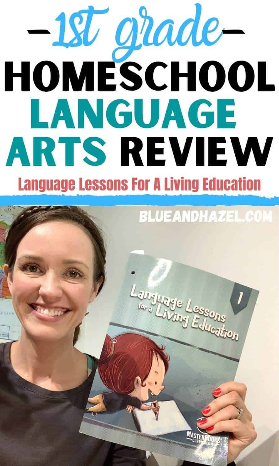 A homeschool mom holding up Language Lessons For A Living Education Level 1 while she reviews the homeschool curriculum.