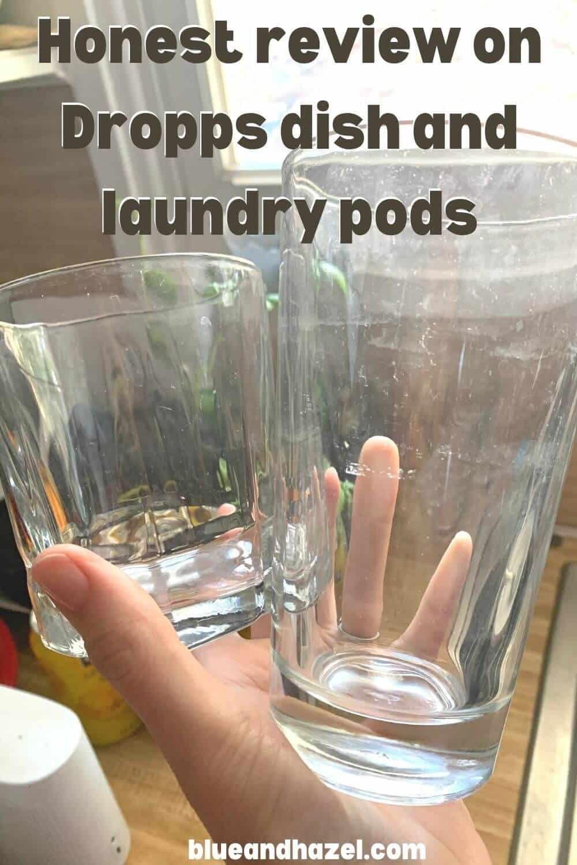 Glasses showing smudges after using Dropps dishwasher lemon scented pods.