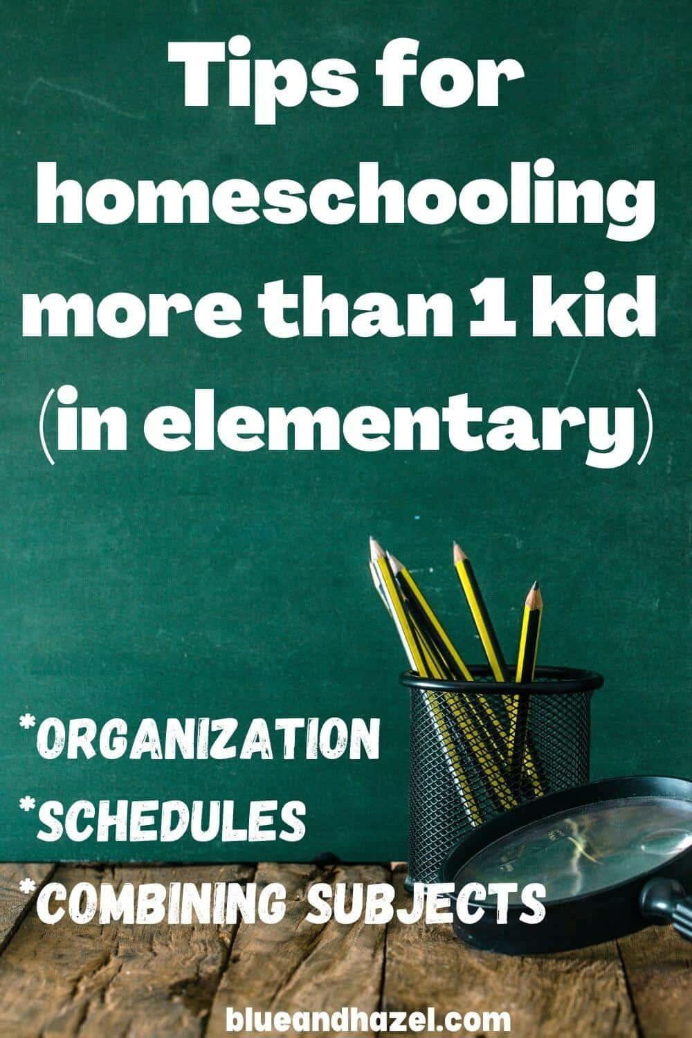 """A chalkboard with words that say """"tips for homeschooling more than 1 kid"""""""