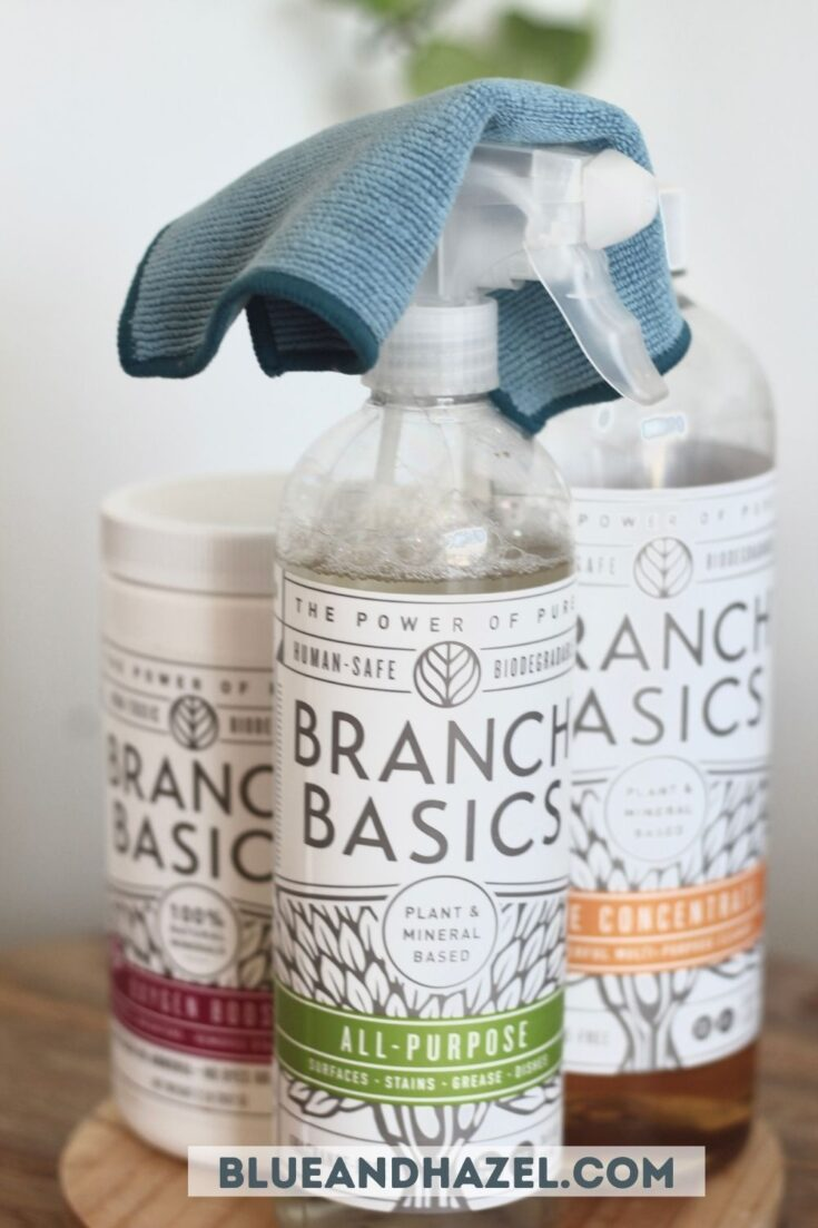 Branch Basics all purpose cleaner, bottle of concentrate, and oxygen boost with a blue rag.