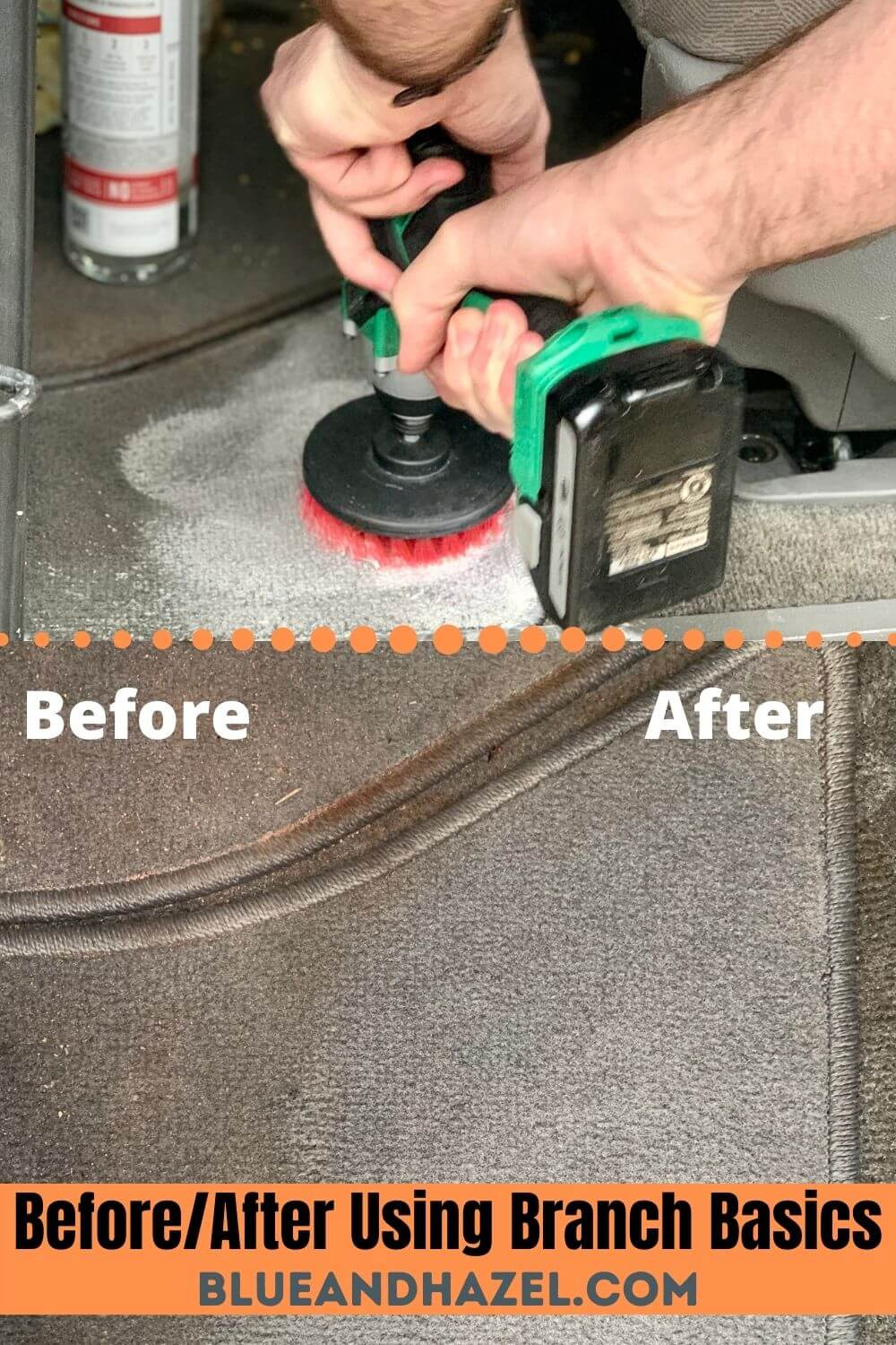 Car carpets cleaned with Branch Basics.