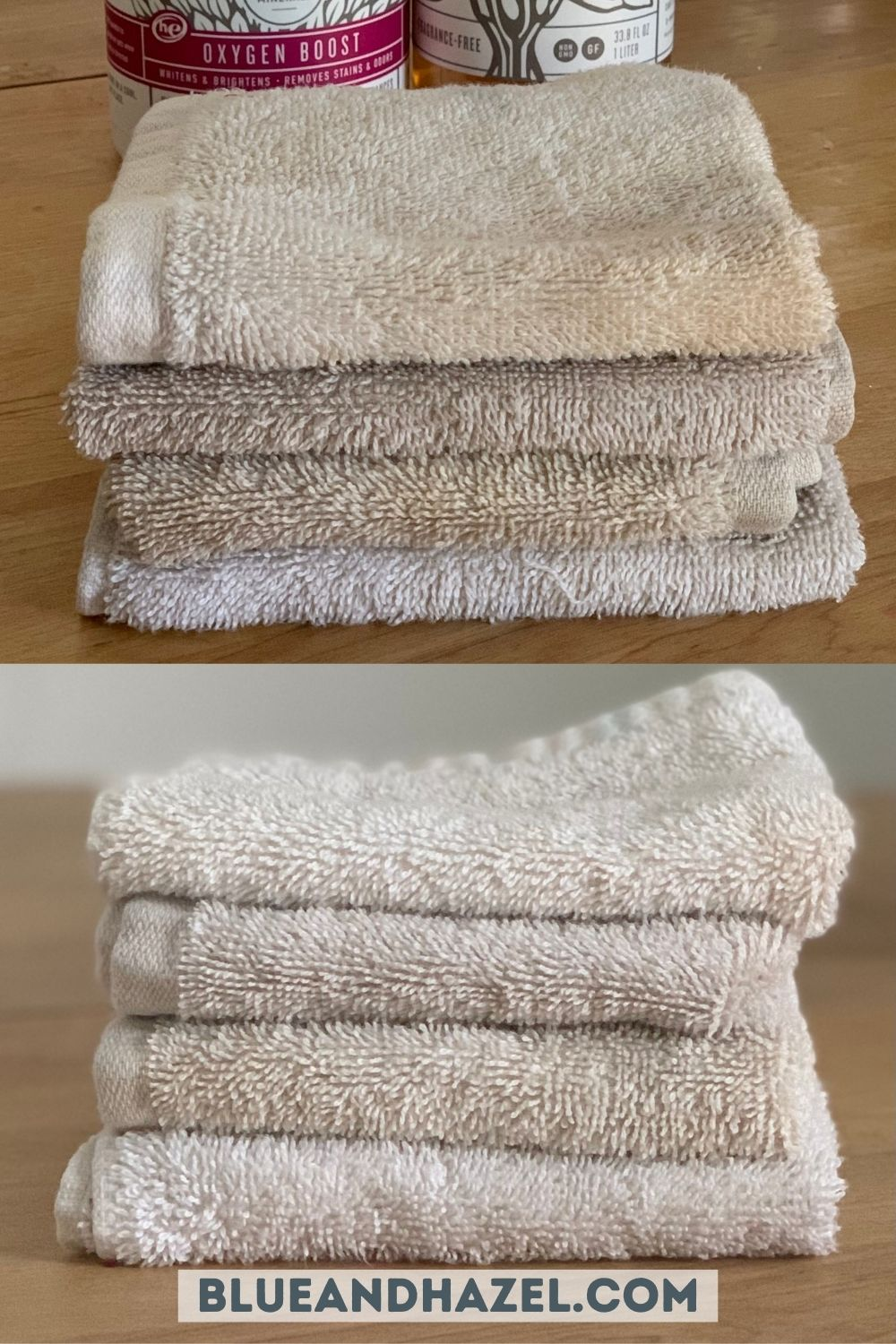 a stack of stained wash cloths before and after using Branch Basics oxygen boost to whiten them.