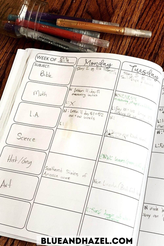 Very simple homeschool planner with activities written in after they happen