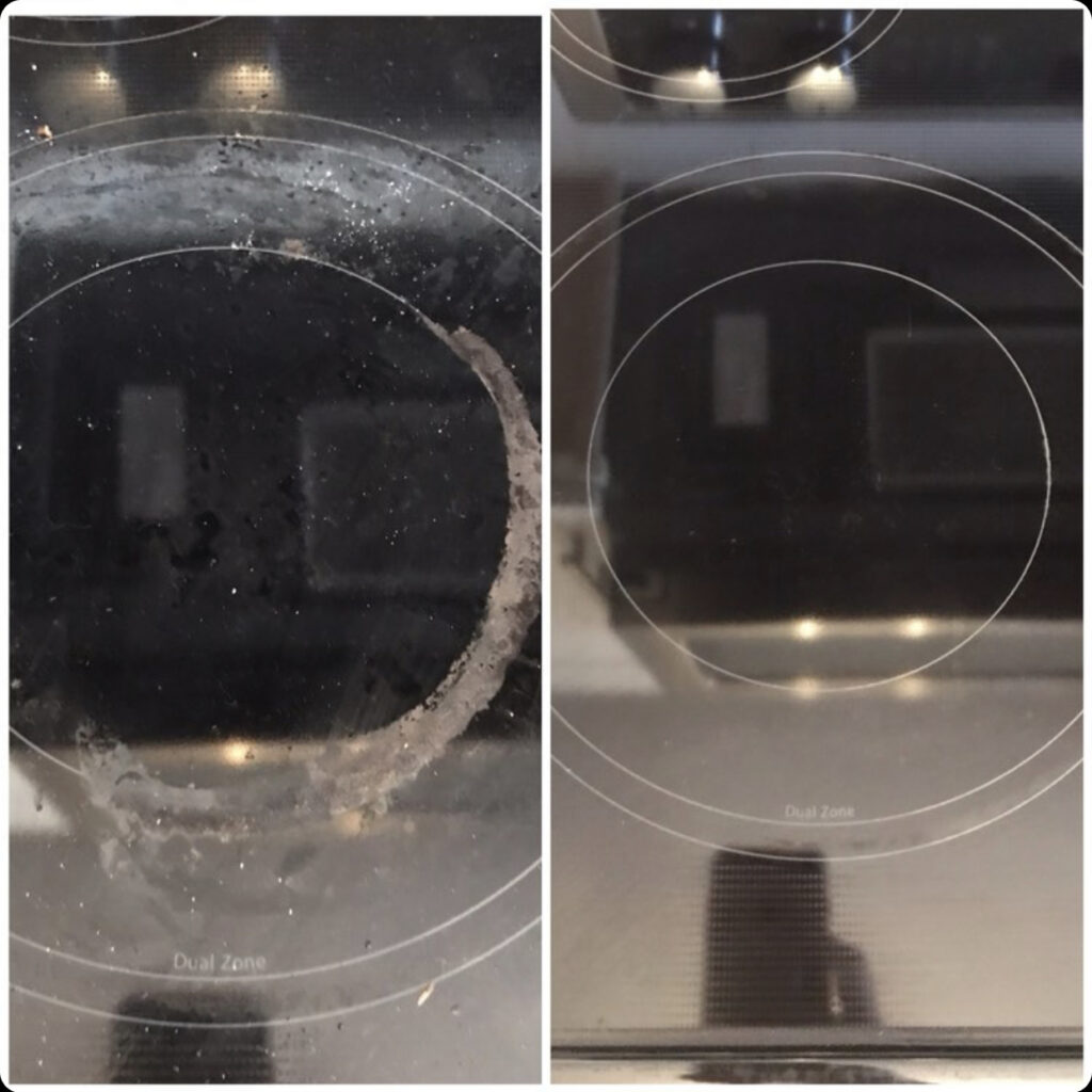 Glass stovetop before and after getting cleaned.