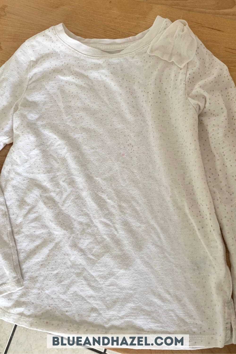 A white shirt after removing a chocolate smoothie stain with branch basics.