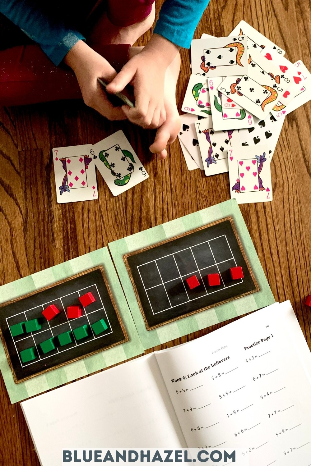 Math activities for memorizing math addition facts including math war, a math worksheet, and 10 frames with colorful blocks.