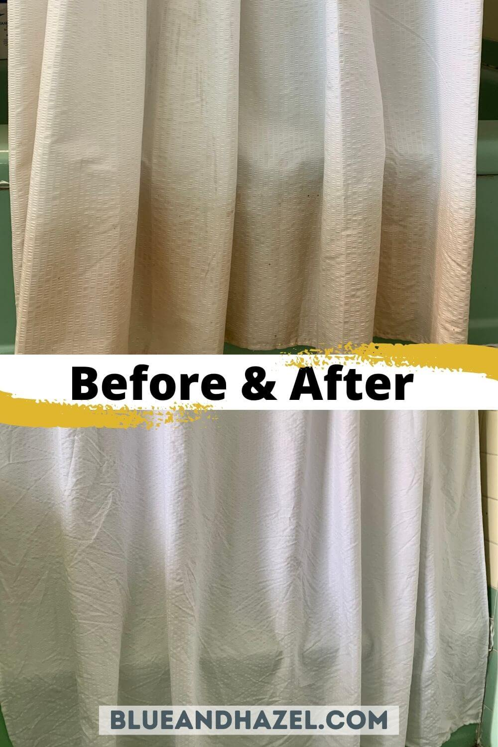 A stained shower curtain before and after soaking with branch basics oxygen boost and concentrate in a hot wash cycle.