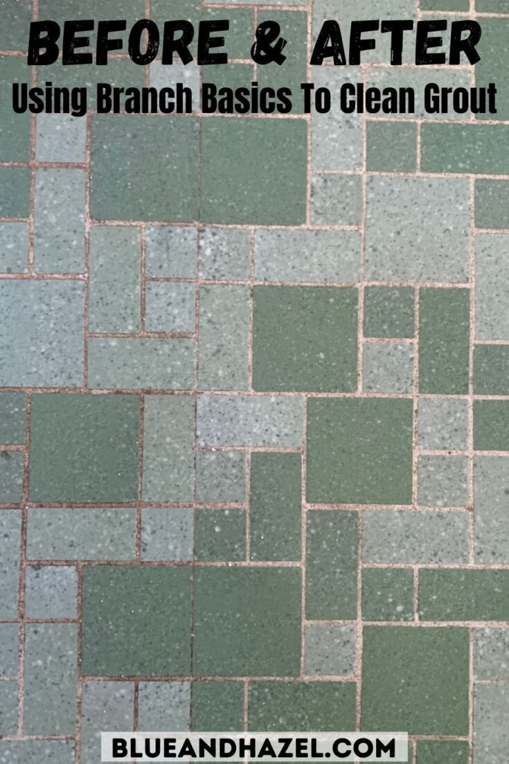 Green tile floor half dirty and half cleaned using branch basics concentrate and oxygen boost.