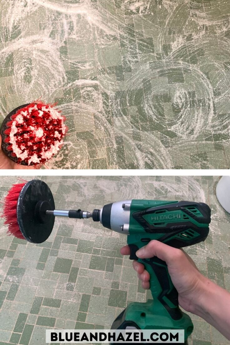 Branch Basics Oxygen Boost and bathroom cleaner used to clean a green 1960's style tile floor.