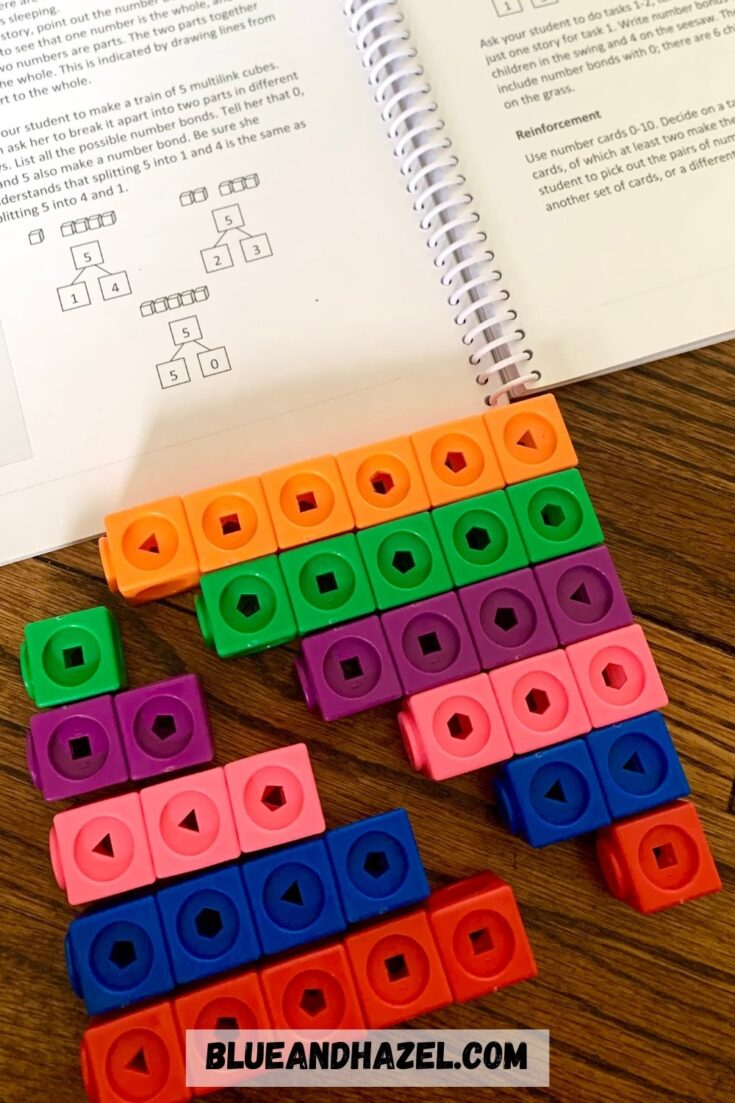 Linking cubes used to teach number bonds for Singapore Math.