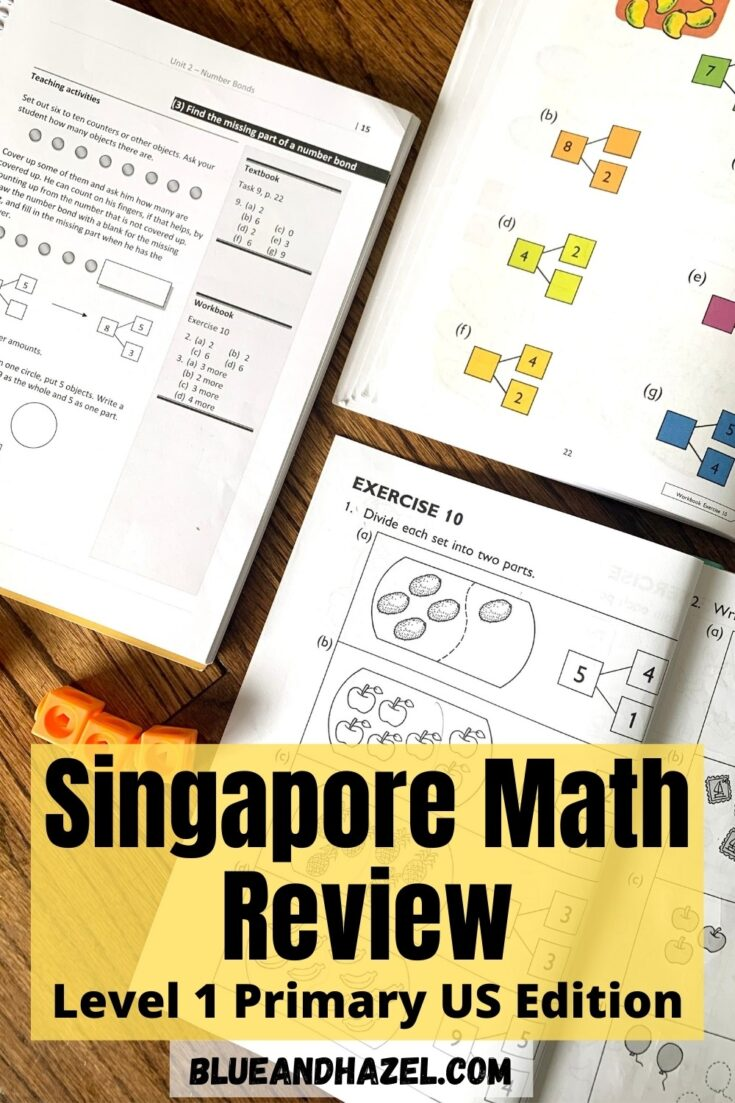 Level 1A Singapore Math textbook page open next to the workbook page and home instructor's guide.
