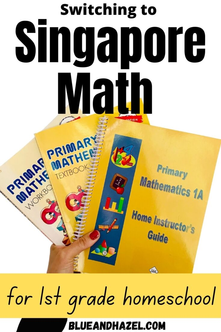 Singapore math home instructor's guide, textbook, and workbook held up with a white background.