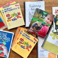 1st and 2nd grade homeschool curriculum laid out