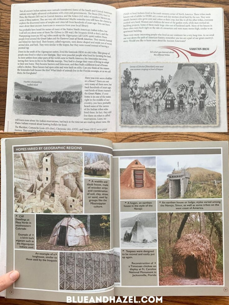 An early american history textbook opened up looking at homes made by native american's in different regions.