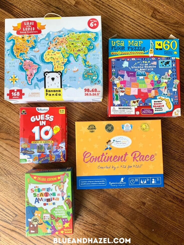 geography games for 1st and second graders spread out, including a world puzzle, U.S puzzle, scattered states of america, continent race, and guess in 10 america