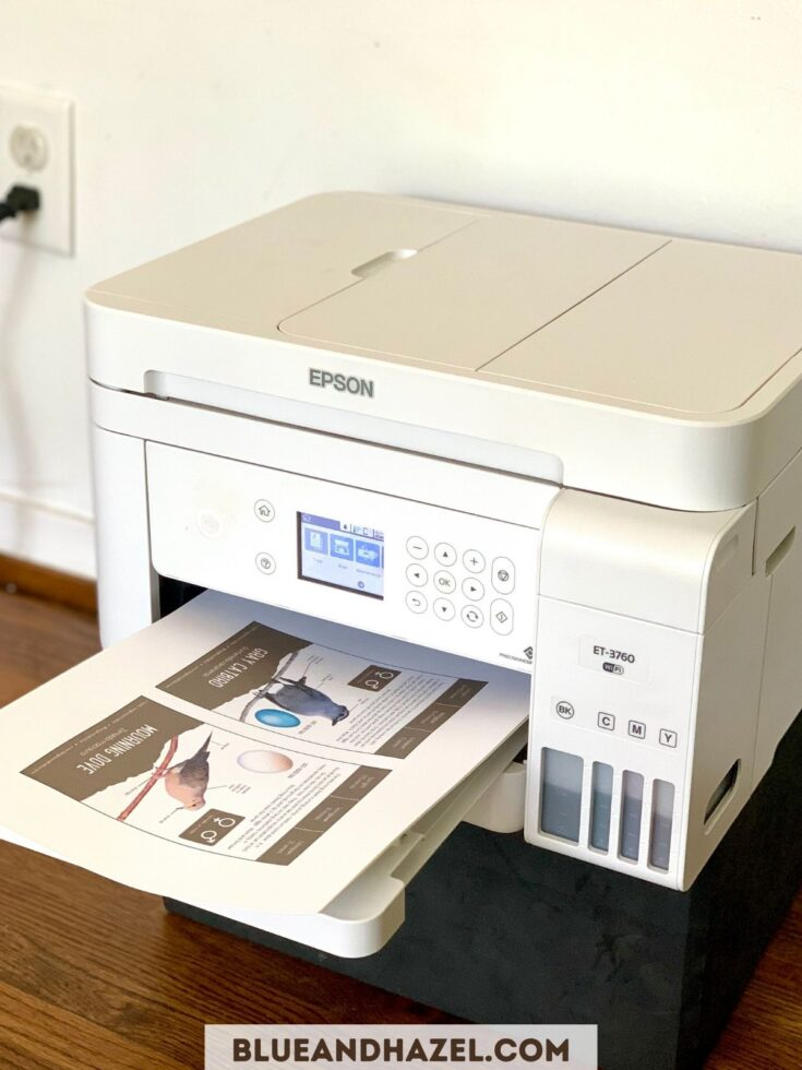 Epson ET-3760 printer printing out homeschool curriculum