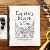 exploring nature with children curriculum next to feathers, cicada bugs, magnifying glass, and rocks