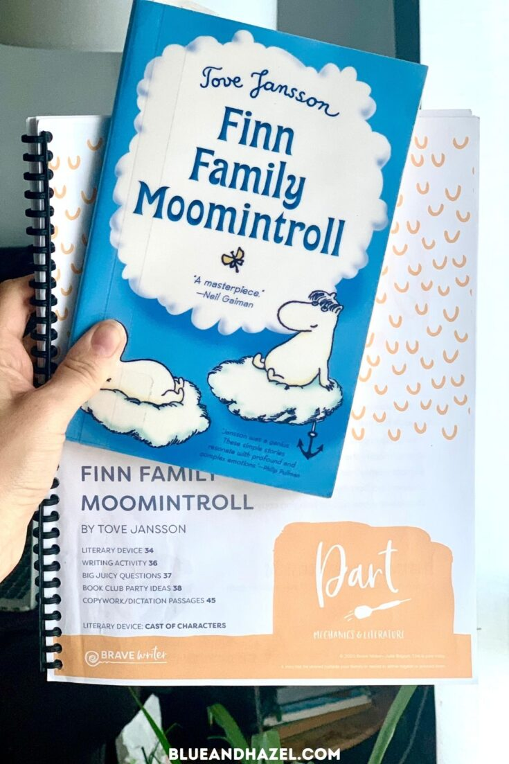 Finn Family Moomintroll book next to it's matching Dart by Brave Writer, a homeschool language arts and writing curriculum.