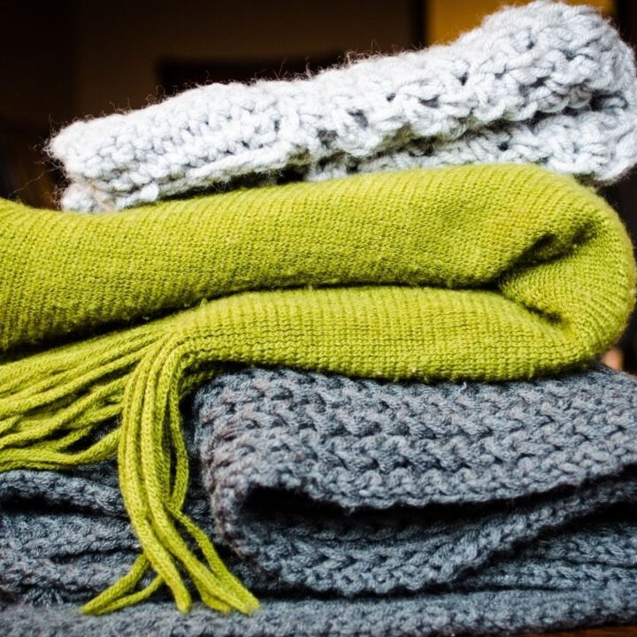 green, gray, and white blankets for napping