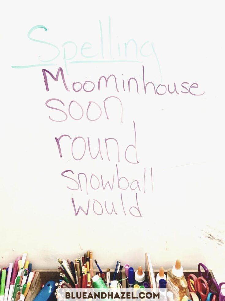 2nd grade spelling words using Brave Writer Dart for language arts.