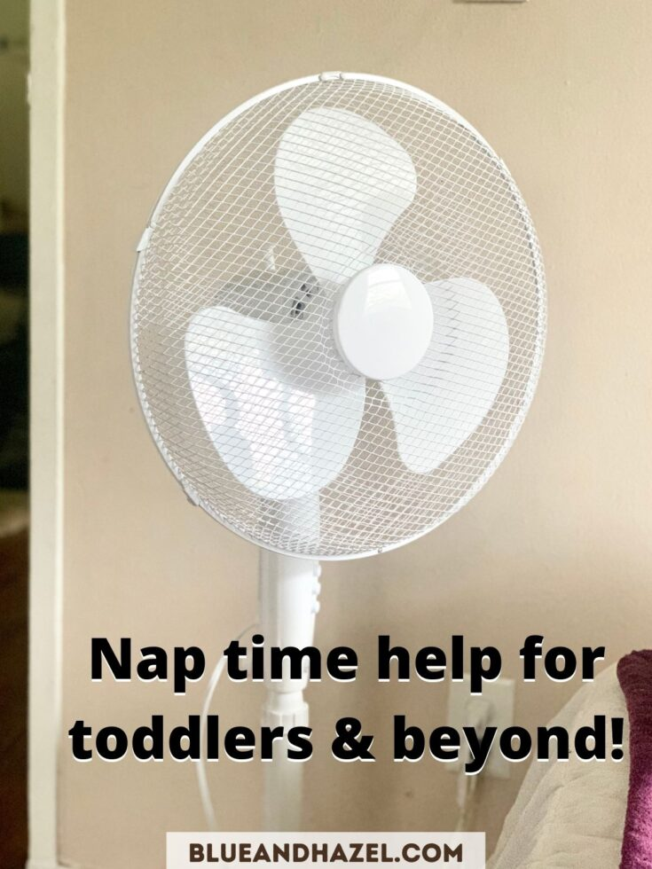 A white tall fan used for nap time.